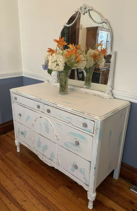 """Antique Art Noveau Dresser with Mirror Very Shabby White and ReFab Blue 48""""L x 2"""