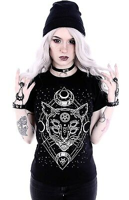 Restyle Gothic T-Shirt Bluse Nugoth Galaxy Cat Witchy Okkult  Hexe Mond Katze