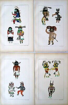 4 Antique American Indian Prints: Hopi Kachina Dolls; American Indian: 1899