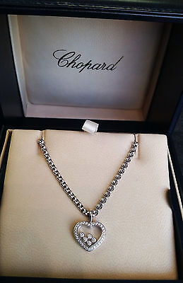 Chopard Happy Floating Diamond Heart Necklace 18K White Gold Pendant Certificate