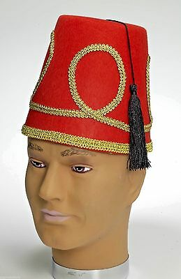DELUXE FEZ HAT Shriners Red Costume Clown Cap Stiff Felt Tassel Turkish Funny
