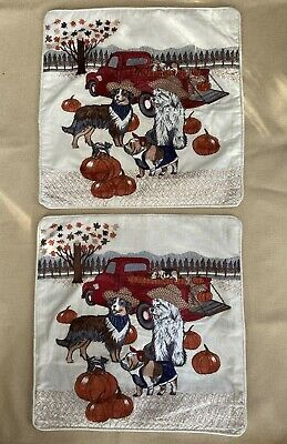 """PIER I® PILLOW COVERS DOGS AND PUMPKINS 16"""" x 16"""" – PAIR OF TWO"""