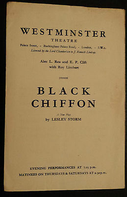 1940's Westminster Theatre Programme: BLACK CHIFFON  Flora Robson Rachel RGurney