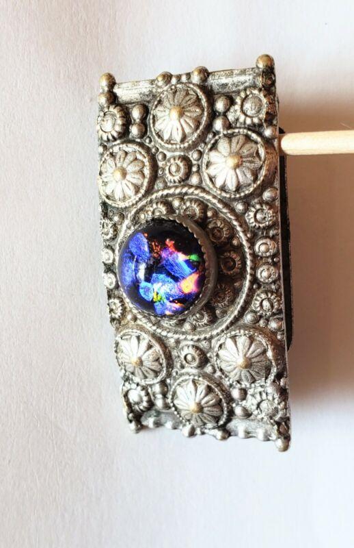 "Vintage dress clip, with black opal Czech glass, 1 1/2"""