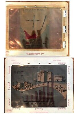 Lot Of 2 Vintage - Overhead Projector Sheets - Education 1960s