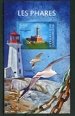 Central African Republic 2015 MNH Lighthouses 1v S/S Punta Carena Capri