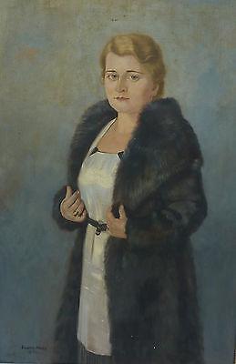 Dame im Pelzmantel Neue Sachlichkeit Art Deco Gustav Haas 1889 L�rrach Karlsruhe