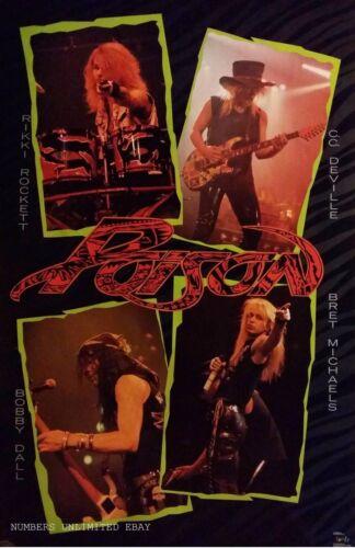 SEALED ORIGINAL VINTAGE POISON LIVE Poster From 1989  glam  metal Bret Michaels