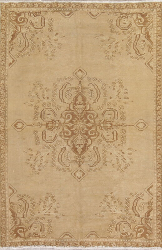 One-of-a-Kind Geometric MUTED Oriental Hand-Knotted 6x8 Gold Brown Rug