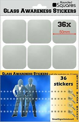 36 ROUNDED SQUARES Glass Awareness Stickers 50mm Etched Effect Frosted Film  ()
