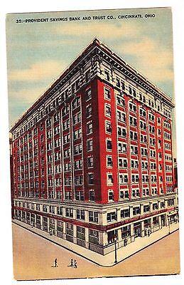 Provident Savings Bank And Trust Co   Cincinnati Ohio Linen Postcard
