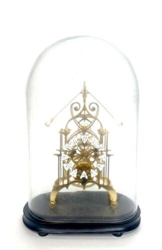 24K English Style Double Compound Rocking Pendulum Open Work Skeleton Clock