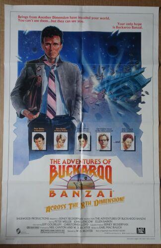 THE ADVENTURES OF BUCKAROO BANZAI ORIGINAL1984 ONE SHEET POSTER PETER WELLER