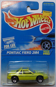 1996 Hot Wheels Pontiac Fiero 2M4 Col. #463 (Yellow Version)(5 Spoke Wheels)