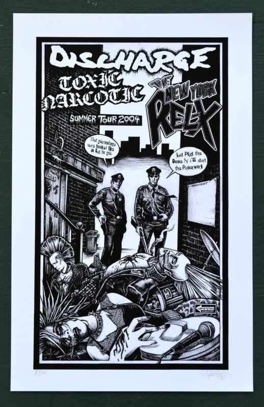 Discharge Toxic Narcotic New York Rel-X Concert Tour Poster signed Punk Hardcore