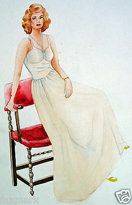 """Vintage """"Woman and Chair"""" Drawing by Suzanne Eshleman --1930's-40's..."""