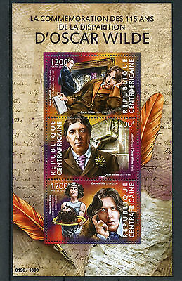 Central African Republic 2015 MNH Oscar Wilde 115th Anniv Death 3v M/S