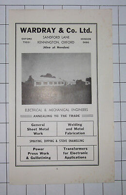 WARDRAY & CO Ltd Electrical Engineers Kennington Oxford 60s Advert Clipping