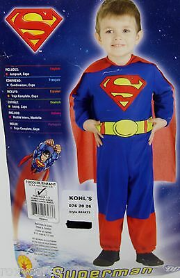 Halloween DC Superman Toddler Costume Size 2-4 NWT - Toddler Superman Halloween Costume
