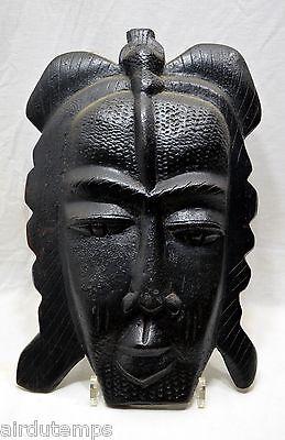 Mask Art Tribale Primitive African Wood Carved Patina Black Twentieth HT 39,5cm
