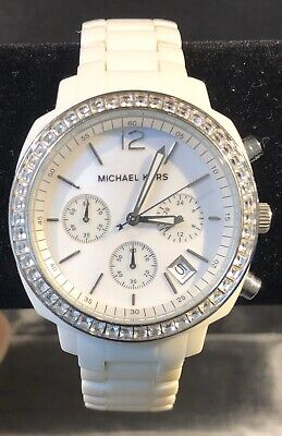 REFURBISHED Michael Kors MK5079 White Swarovski Crystal NEW BATTERY