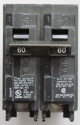 Siemens Q260 Type Qp Circuit Breaker 2 Pole 60 Amp New No Box