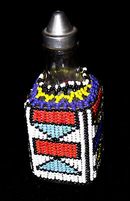 VINTAGE AFRICAN ART NDEBELE GLASS BEAD WORK VINEGAR OIL BOTTLE