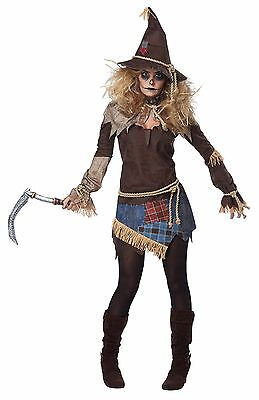 Wizard of Oz Creepy Scarecrow Farmer Women Adult Costume (Woman Wizard Costume)