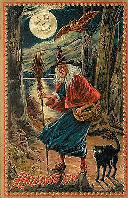 Raphael Tuck Haunted Forest Halloween Witch in Woods Print or Window/Door Decal ()