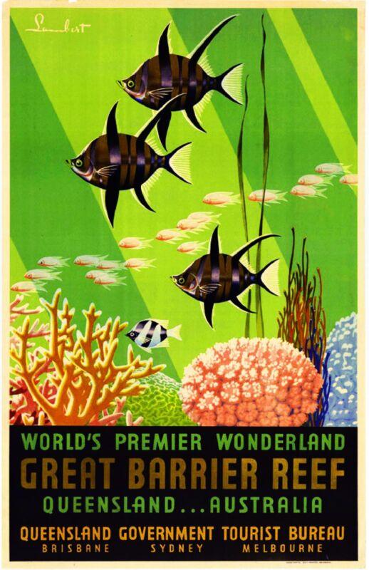 Queensland The Great Barrier Reef Australia Travel Advertisement Art Poster