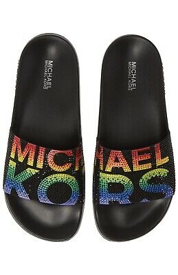 Women MK Michael Kors Gilmore Slide Slip On Sandals Rhinestone (Michael Kors Black On Black)