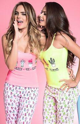 Women's Sleepwear by AnniQua | 2 Piece Cactus Pajama Set Capri Pants & Cami - 2 Piece Capri Pant