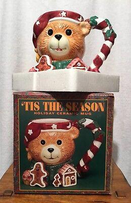 (Tis The Season TEDDY BEAR Christmas Holiday Ceramic Mug Hand Painted New)