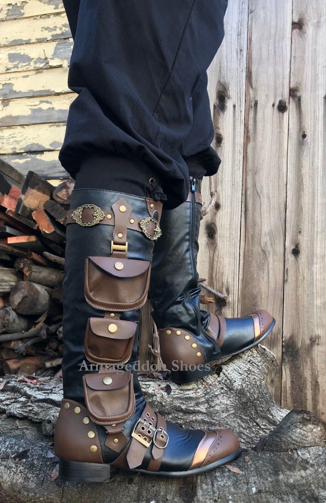 Black Brown Gold Steampunk Pirate Captain Renaissance Fair Costume Mens Boots 1