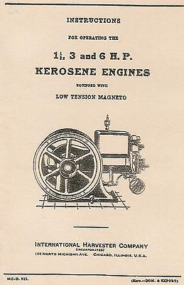 International Ih M 1.5 3 6 Hp Low Tension Gas Engine Motor Book Manual Hit Miss