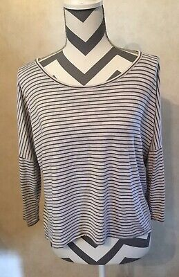 Small Abercrombie & Fitch Gray White Striped Women's Bare Shoulder Blouse Top