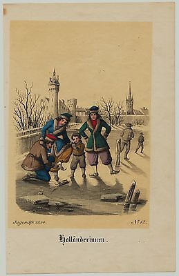 HOLLAND Eislauf Orig Grafik 1854 altkoloriert Schlittschuhe Wintersport Sport