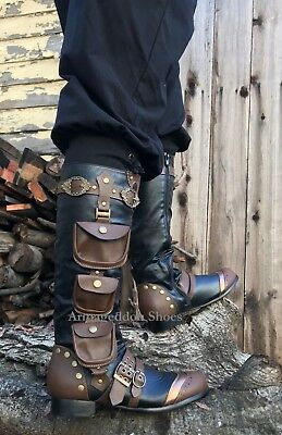 Steampunk Boots Men (Black Steampunk Burner Stagecoach Burning Man Utility Pocket Mens Costume)