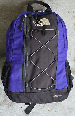 TNF The North Face Black & Purple Hiking Camping Backpack School Book Bag Tote