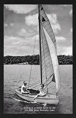 Sailing Kentucky Lake sail boat Kentucky KY postcard