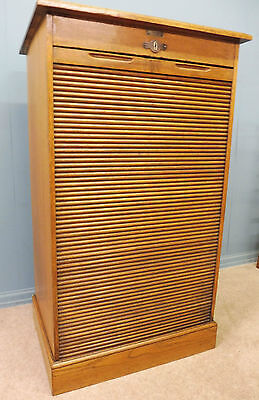 ANTIQUE GOLDEN OAK TAMBOUR ROLL FRONTED OFFICE CABINET