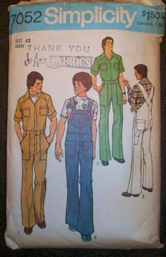 Simplicity Vintage 70s Pattern 7052 Mechanics Jumpsuit & Bib Overalls Size 42