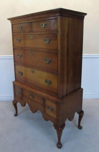 Stickley Furniture Cherry Queen Anne High Boy Chest, Dresser, Eight Drawers