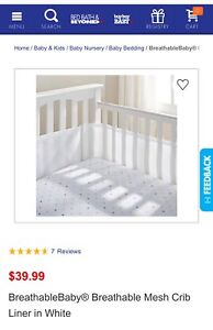 Breathable Baby Bumper Crib Pads