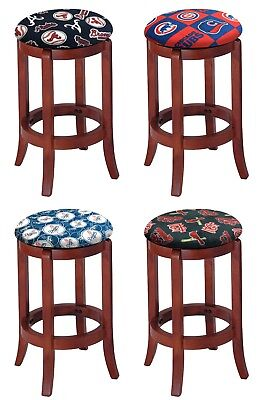 Logo Fabric Bar Stool - BAR STOOL CHERRY FINISH WOOD 24