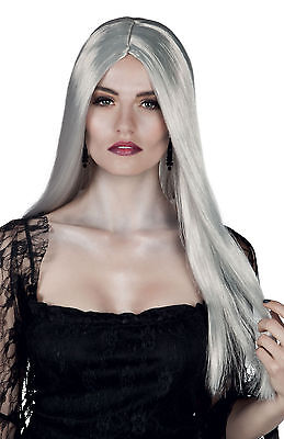 SILVER LONG GREY WIG WITCH GHOST LADIES HALLOWEEN FANCY DRESS COSTUME NEW
