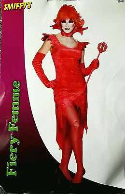 Costume Halloween Femme (Fiery Femme Costume L UK 16/18 Vampiress Costume Halloween Ladies Fancy)