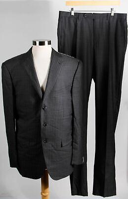 NWT Ermenegildo Zegna Charcoal Wool Silk Men's Pinstriped Blazer Pants Suit 56R