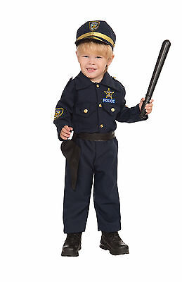 Toddler Police Boy Costume Cop Officer Dress Up Halloween Size 2-4