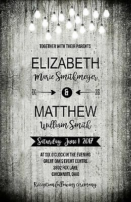 Wedding Invitations Black White Wood Lights Rustic 50 Invitations & RSVP Card](Black And White Wedding Invitations)